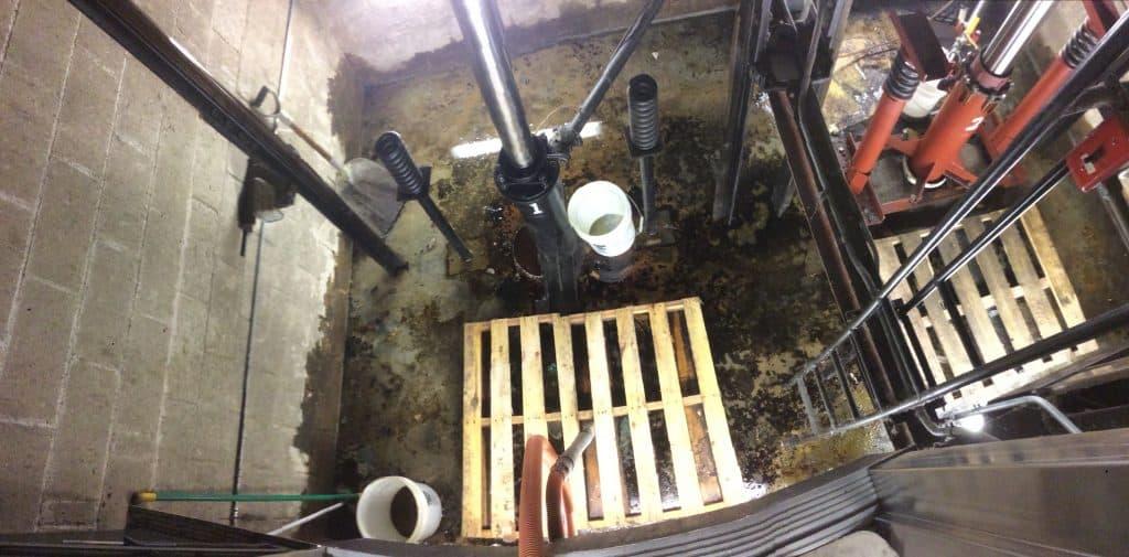 elevator pit that needs work.