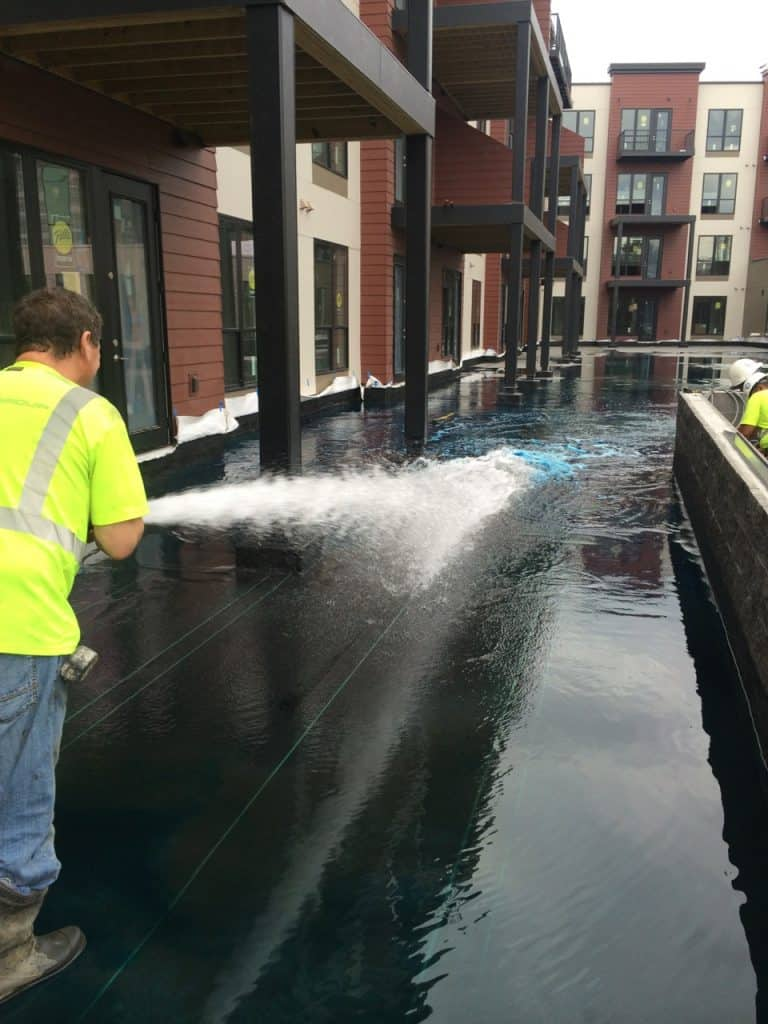 Spray flood test for waterproofing inspection